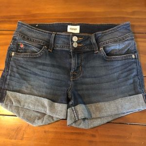 Hudson medium wash mid rise cuffed jean shorts